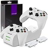 Fosmon Dual Base De Cargador Compatible Con Mando Xbox One/one S/one X/elite (No Para Xbox Series X/s 2020), (Doble Estación) Estación De Carga Rápida Con 2X 1000Mah Ni-Mh Batería Recargable - Blanco