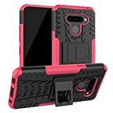 Liushan Lg Q60 / Lg K50 Funda, Heavy Duty Silicona Híbrida Rugged Armor Soporte Cáscara De Cubierta Protectora De Doble Capa Caso Para Lg Q60 / Lg K50 Smartphone,rosa