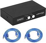Eeekit Paquete Para Interruptor De Impresora, 2 Puertos Usb 2.0 Impresora Manual Adaptador De Intercambio De Escáner Hub 2 Pc A 1 Adaptador Divisor, 2 Paquetes De Cable De Impresora Usb A A B
