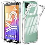 Reshias Funda Para Huawei Y5P Con Dos Cristal Templado Protector De Pantalla, Suave Tpu Transparente Gel Silicona Anti Caída Protectora Carcasa Para Huawei Y5P 2020 (5.45 Pulgadas)