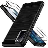 Lk Compatible Con Samsung Galaxy S20 Fe 4G/5G Funda Con 2 Pack Vidrio Templado Screen Protector Slim Fit Carcasa Protectora Cepillada Tpu Suave Cover Case - Negro
