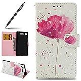 Uposao Sony Xperia Xz1 Funda Carcasa Piel Cartera Libro Dibujo 3D Pintado Modelo Pu Leather Wallet Case Para Sony Xperia Xz1,rosa