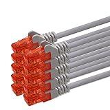 1,5M Cable De Red - Gris - 10 Piezas - Gigabit Ethernet Lan Cat.6 Rj45 1000Mbit S - Cable De Conexión A Red
