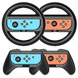 Heystop Volantes Y Grip Switch Joy-Con Para Nintendo Switch, Switch Joy-Con Racing Wheel Volante, Mandos Grip Joy-Con Para Mario Kart Juegos/joy-Con Mandos Nintendo Switch Deluxe 4 Piezas (Negro)