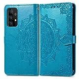 Topofu Funda Samsung Galaxy A72 5G, Pu/tpu Cuero Billetera Flip Folio Carcasa, Diseño De Patrón De Flores Retro, Con [Ranuras Para Tarjetas] [Soporte Plegable] [Magnético] (Azul)