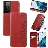 Topofu Funda Samsung Galaxy S21 Ultra, Carcasa Flip Leather Wallet Case, Funda De Cuero Pu Premium Carcasa Para Samsung Galaxy S21 Ultra (Rojo)