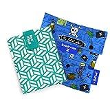 Roll'eat - Pack 2 Unidades, Boc'N'Roll Tiles Verde Y Snack'n' Go Kids Piratas Azul | Envoltorio Porta Bocadillos + Bolsa Merienda Porta Sandwich, Reutilizables Y Ecológicos Sin Bpa