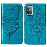Topofu Funda Samsung Galaxy A52 5G, Patrón De Flor De Mariposa Retro, Suave Pu Cuero Carcasa Cartera Flip Case Cover, Cierre Magnético, Tapa Soporte Plegable, Tpu Parachoques Funda (Azul)