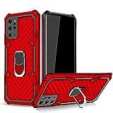 Topofu Funda Para Samsung Galaxy M12,relámpago Patrón Diseño Tpu & Pc Armadura Híbrida Anti-Arañazos Cáscara Con Magnético Soporte Protección Funda Para Samsung Galaxy M12-Rojo
