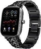 Skyband Diamante De Imitación Metalica Acero Moda Correas Compatible Para Reloj Inteligente Amazfit Gts 2 Mini/gts 2 (Negro)