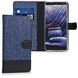 Kwmobile Funda Compatible Con Nokia 7 Plus - Carcasa De Tela Y Cuero Sintético Tarjetero Azul Oscuro/negro